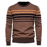 XDJSD Suéter para Hombre Color De Contraste a Rayas para Hombre Suéter Informal para Hombre Suéter De Punto para Hombre Camisa De Fondo De Punto para Hombre