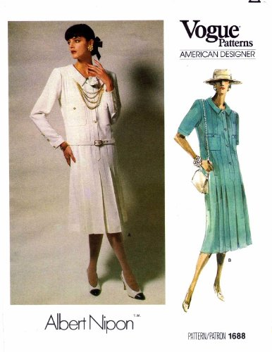 Vogue 1688 Sewing Pattern Misses Albert Nipon Pleated Dress Size 10 Bust 32 1/2