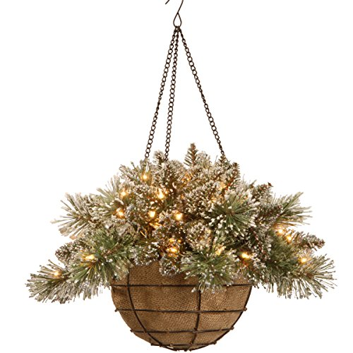 National Tree Company Pre-lit Artificial Christmas Hanging Basket   Flocked with Mixed Decorations and White LED Lights   Glittery Bristle Pine, 20 Inch, Green
