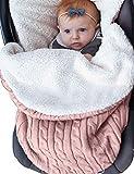 Baby-Wickeldecke für Neugeborene, für Mädchen und Jungen, gestrickt, leicht, weiches dickes Fleece, Unisex, Schlafsack für Kinderwagen, Winter, warm, für 0-12 Monate