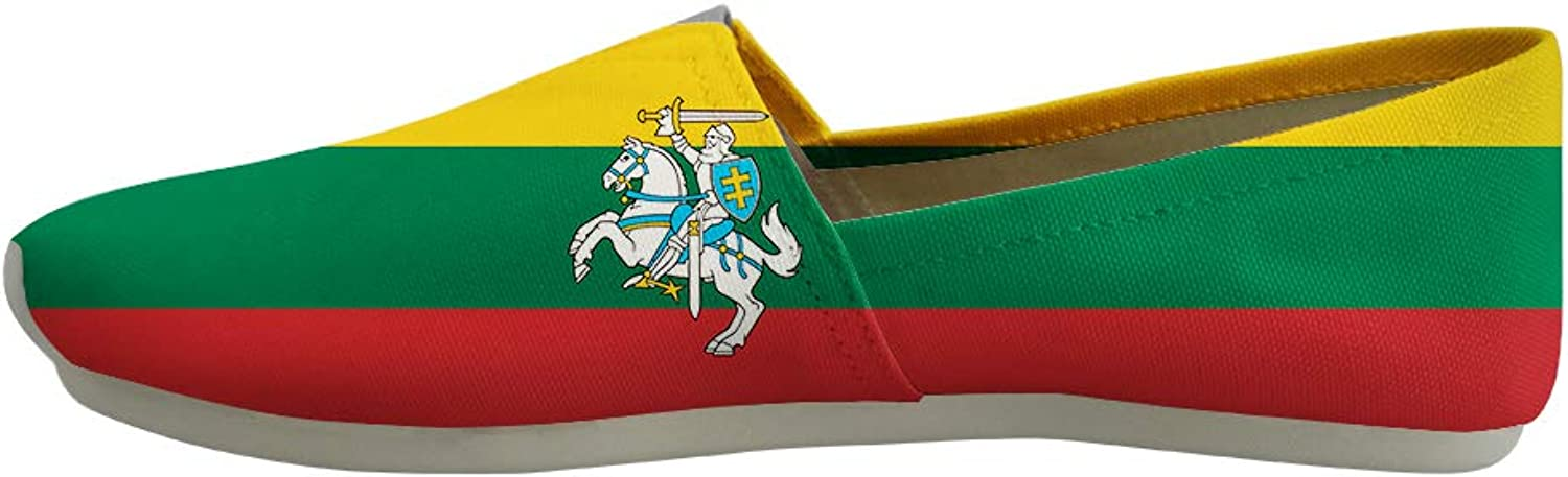 Owaheson Classic Canvas Slip-On Lightweight Driving shoes Soft Penny Loafers Men Women Lithuania Flag National Emblem