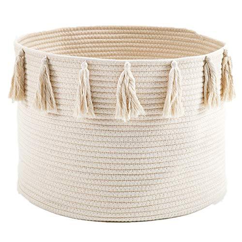 Zinsale Cuerda de algodón Cestos para la Colada Borla Robusta Lavable Cesto de lavandería Juguetes para bebés Cesta de Almacenamiento de contenedores 45x30cm (Beige)