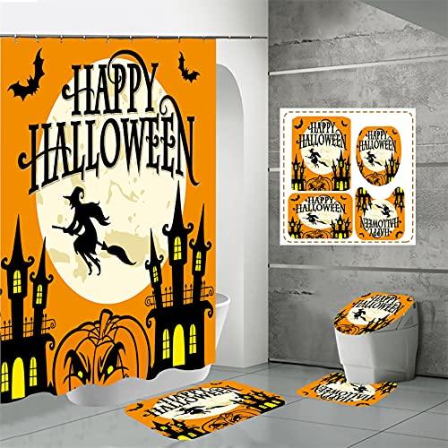 Tenda da Doccia in Poliestere Impermeabile con Stampa Digitale per Bagno Domestico, Set di Quattro Pezzi, Tenda da Doccia di Halloween 120x180cm(WxH) P