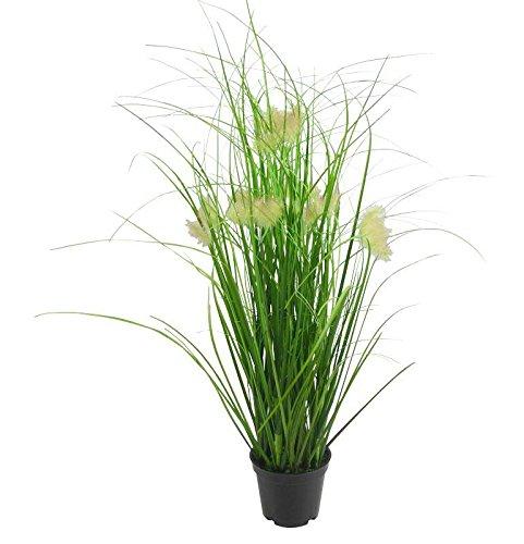 Kleine Kunstpflanze im Topf - Grasbusch mit Dandelion - Höhe: 58cm - Farbe: Grün - Hochwertige Dekopflanze / Künstliche Pflanze / Grünpflanze / Topfpflanze zur Dekoration
