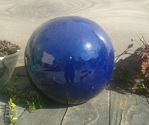terracotta-toepfe-de 2. Wahl !! Aktion !! Kugel ca. 12 cm aus Steinzeug Keramik, blau glasiert Deko Garten