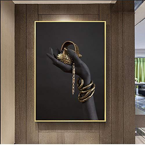 vbewuvbiewv Mano de Mujer Negra con Joyas de Oro Arte de la Pared Pinturas en Lienzo en los Carteles e Impresiones de la Pared Impresiones del Arte Pop Decoración de la Pared 60x90cm sin Marco
