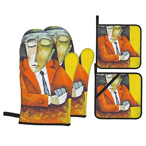Guantes de Horno,Ilustración de Jugador de Cartas por Eugene Ivanov,Guantes de Cocina Resistentes al Calor y Juego de agarraderas,Antideslizante,Adecuado para Cocinar,Hornear,Asar a la Parrilla