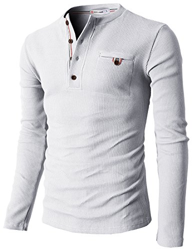 H2H Mens Casual Slim Fit Henley Shirts with Bound Pocket of Waffle Cotton White US XL/Asia XXL (KMTTL062)