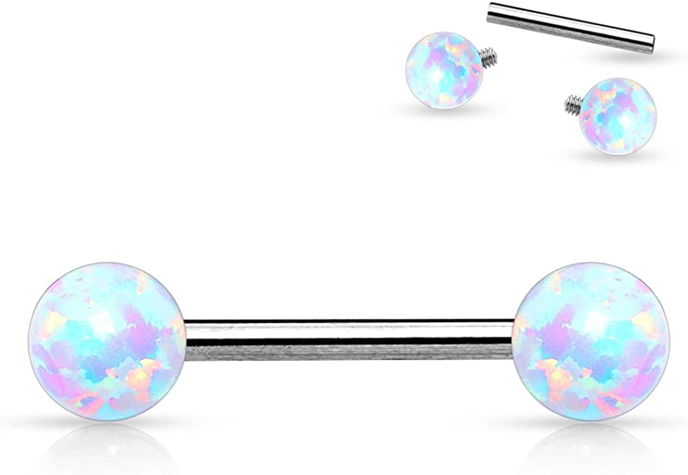 Dynamique 14G Internally Threaded Synthetic Opal Balls 316L Stainless Steel Nipple Bar