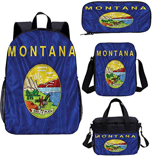 15' Kids School Bookbags Set,Montana Flag Mountains School Bags Set for Work,School,Travel,Picnic
