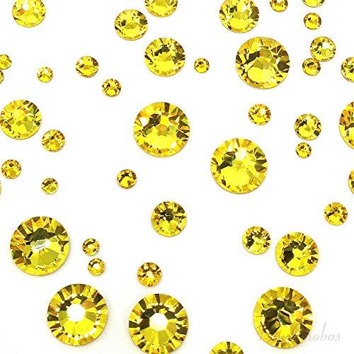 CITRINE (249) yellow 144 pcs Swarovski 2058/2088 Crystal Flatbacks yellow rhinestones nail art mixed with Sizes ss5, ss7, ss9, ss12, ss16, ss20, ss30