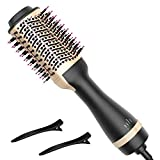 Hot Air Brush, Bongtai Hair Dryer Brush One Step Hair Dryer & Volumizer 3 in 1 Brush Blow Dryer Styler for Rotating Straightening, Curling, Salon Negative Ion Ceramic Blow Dryer Brush(Golden)