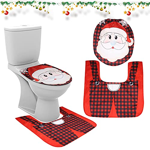 Juego de inodoro Decoraciones navideñas Papá Noel Cubierta de inodoro Decoraciones de baño Papá Noel Alfombra de baño Inodoro Navidad Novedad Tapa Alfombra de piso Cojín de inodoro Decoración navideña