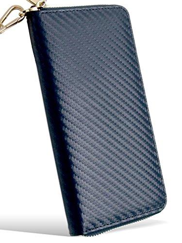 Dom Teporna プルームテック対応 ケース Ploom TECH対応 カーボンレザー 牛革 オールインワン 手帳型 ロングタイプ互換バッテリーも収納 カーボン牛革 ストラップ付き ラウンドファスナー コンパクトデザイン ネイビー