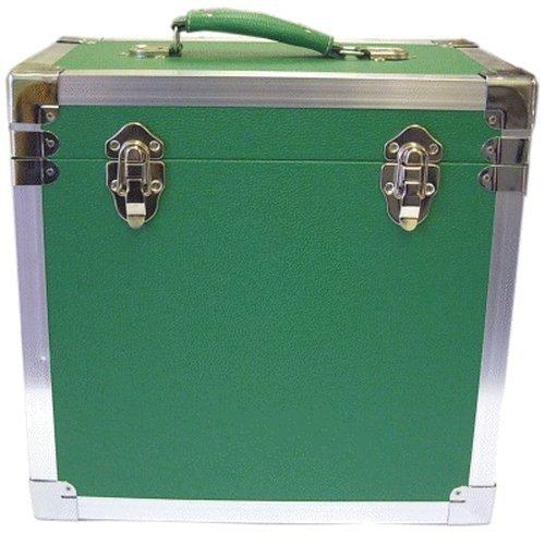 Steepletone - Caja de DJ para LPs y discos de vinilo, 30 x 30 x 20 cm, color verde