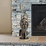 """Unknown1 Medieval Knight Fireplace Tool Set 8.25"""" X 4.75"""" 29"""" Gold Iron"""