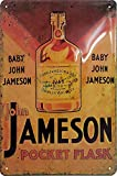 Baby John Jameson Pocket Flask, Whiskey Blechschild, hochwertig geprägtes Retro Werbeschild, Blechschild, Türschild, Wandschild, 30 x 20 cm