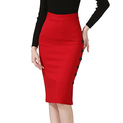 5464868629 TEERFU Womens Slim Pencil Skirt Bodycon Stretch High Wiast Knee Length Skirt