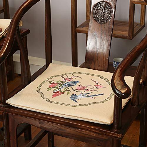 TSSCY Chinesisch Klassische Stuhlauflage, rutschfeste Sitzkissen Für Holzstuhl Zarten Sitzpolster Lendenkissen Home Office-s2 44x50cm Stuhlauflage+lendenkissen