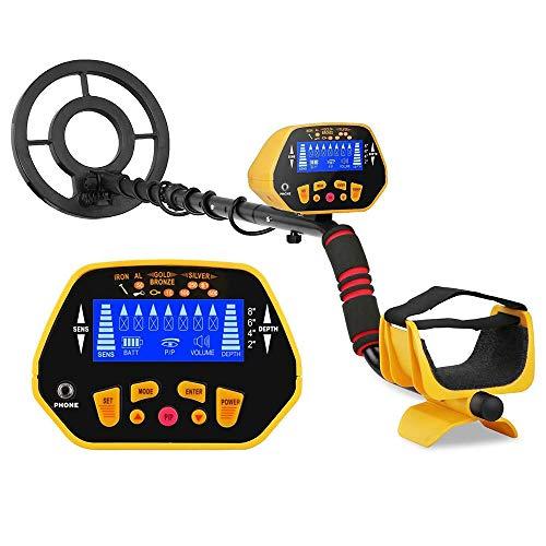 SUNASQ Detectores de Metales Profesionales, Pantalla LCD de Detector de Metales de Alta precisión Modo Disc para niños Detector de Metales, detectores de Metales de Bobina Impermeable para Adultos