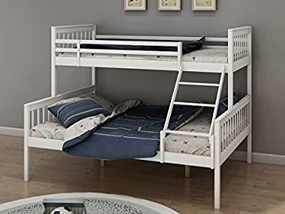 Panana White Solid Wood Triple Bunk Bed 3 Sleeper Twins Children,can be separated into a Single Bed and a Double Bed