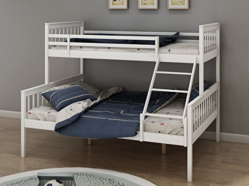 Triple Sleeper Bunk Beds, Single Top Double base bed | Solid Wood Frame, Children's Bed room Furniture, Wooden Bed Frame for Parents & Children (White)