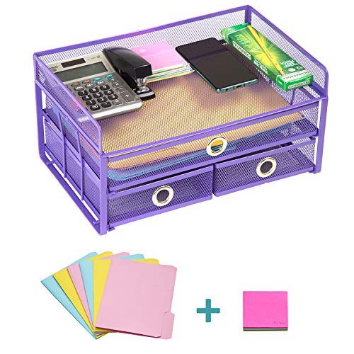 Pro Space Mesh Desk Organizer 3-Tier Metal Desktop File Organizer with 3 Drawers,Document Letter Tray for Office or Home,6 File Folders and a Note for Free,13.8'9.06'6.9', Purple
