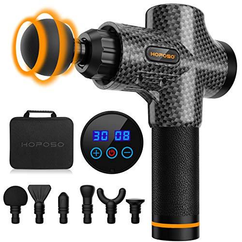 Massagepistole Massagegerät Elektrisches HOPOSO Massage Gun mit 30 Geschwindigkeiten 6 Massageköpfen LCD-Anzeige-Touchscreen Massage Pistole für Nacken Schulter Rücken(Kohlenschwarz)