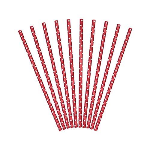Set 10 Cannucce di Carta Rosse con Pois Bianchi da 19,5 cm di Lunghezza ideali per Matrimonio Eventi Feste di Compleanno Natale