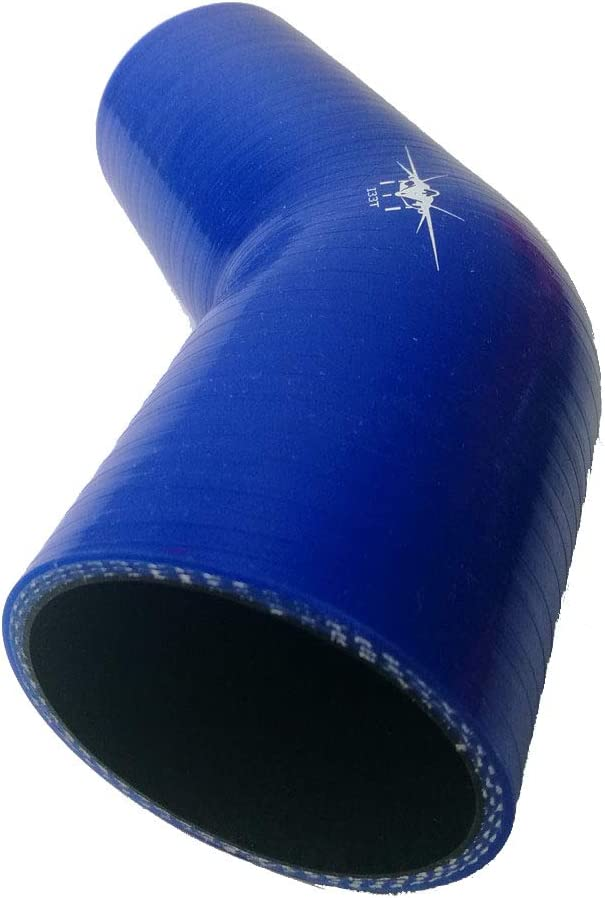 Leg Length 4.72 Inches // 120 mm Blue Wall Thickness 0.2 Inches // 5 mm 64 mm to 76 mm ID 2.5 to 3 I33T 4-Ply Reinforced 45 Degree Elbow Reducer Coupler Universal Automotive Silicone Hose