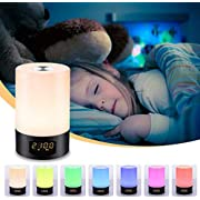 SOLMORE LED Wake Up Light Alarm Clock Sunrise Simulation Alarm Clock Lamp with 7 Colors Night Light Bedside Table Lamp Dimmable LED Mood Light, 6 Nature Sounds,3 Brightness, Touch Control, USB Charger