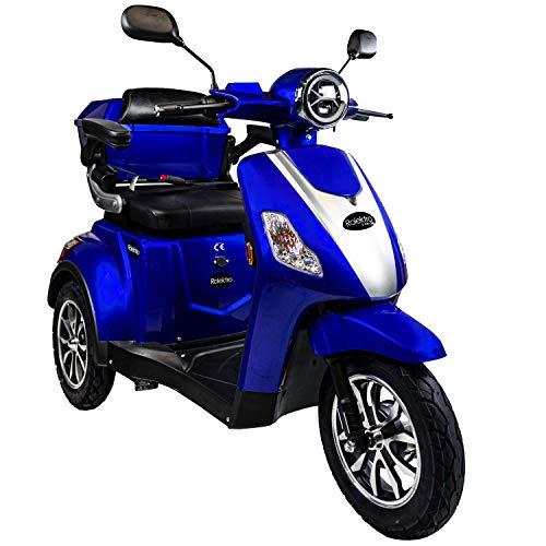 Rolektro E-Trike 25 V.3 Pro Dreirad Blau - 1000W Elektroroller - 70km Reichweite - herausnehmbarer Lithium Akku - LED Licht - Seniorenmobil mit Straßenzulassung