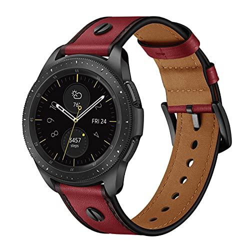 Cuero Clasico Correas Compatible con Samsung Galaxy Watch 1/3 Correa 45/46mm Piel Pulseras Brazaletes Bandas con Hebilla Reemplazo Reloj Watch Bands,Red,45/46MM