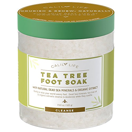 Calily Life Organic Tea Tree Oil Foot Soak with Natural Dead Sea Minerals ,16 Oz. - Foot Bath Eliminates Odors, Fights Fungus, Softens and Refreshes Feet - Rejuvenate and Detox Tired and Achy Feet