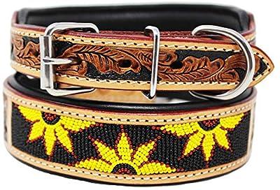 CHALLENGER Medium 17''- 21'' Hand Tooled Beaded Padded Leather Dog Collar 60166