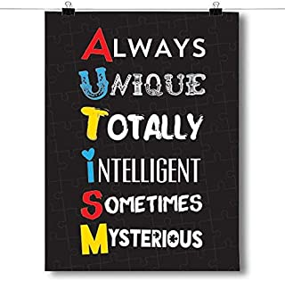 Inspired Posters - A.U.T.I.S.M. - Autism Awareness Decorative Wall Art Poster - Modern Home Decor - Motivational Posters - UV Print 18 x 24 Poster