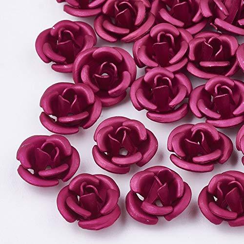 Beadthoven - 50 cuentas de aluminio de 6 mm, diseño floral en 3D, para joyas, collares, pulseras, pendientes, color fucsia