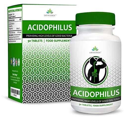 Probiotika-Tabletten 10 Milliarden KBE - Für eine Gesunde Verdauung - Lactobacillus Acidophilus - Geeignet für Vegetarier - 90 Tabletten (3 Monate Vorrat) von Earths Design