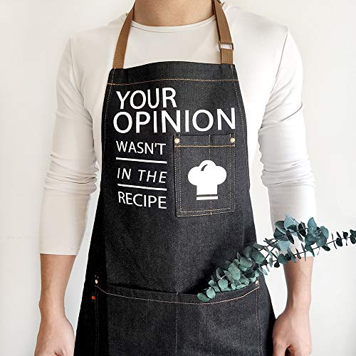 Librein Professional Denim Cooking Apron-Your Opinion Wasn't in The Recipe- Chef Funny Designed for Kitchen BBQ,Grill,Baking Men Dad Bib,Adjustable 3 Poackets Black