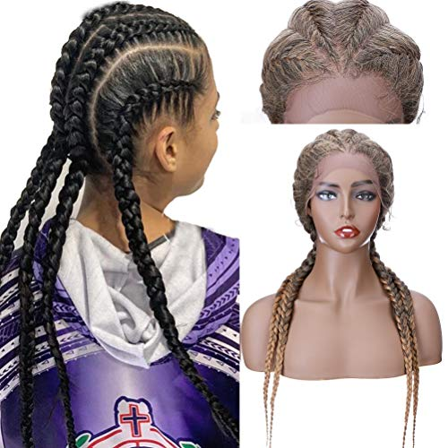 4 cajas de pelucas trenzadas con pelo de beb sinttico trenzado de encaje de ganchillo X Pression trenzado, pelucas largas para mujeres, 50 cm, color negro, mezcla de caf y marrn
