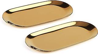 dedoot ステンレススチールタオルトレイ 2個パック メタルストレージトレイ ディッシュプレート ティー キャンディトレイ コスメティック ジュエリーオーガナイザー ゴールド 7インチ
