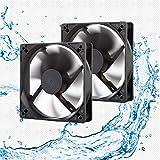 12V Waterproof Fan 120mm High Speed 12 Volt DC 2Wire 3Pin Exhaust Cooling Fan 3000RPM 2-Pack