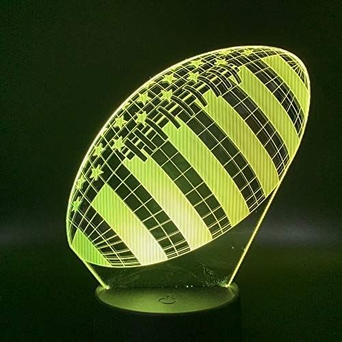 3D Rugby American Soccer Football Sports Ball Games Bedroom Decor Color Best Holiday Boy Kids Gift Table Lamp Night Light