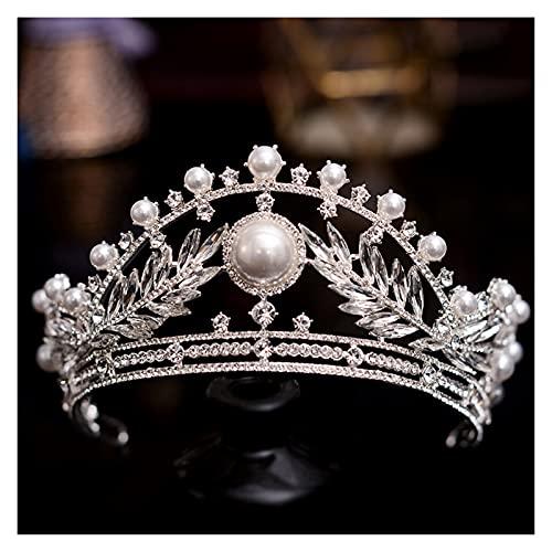 XKMY Corona de perlas de boda estilo retro corte adornos para el pelo, nudo, vestido de novia reina, corona, estudio fotográfico, cabeza de raqueta de viaje, corona de perlas (color metálico: como)
