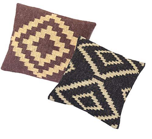 iinfinize - 2 fundas de cojín tradicional Kilim, tejidas a mano, de lana, de yute, para sofá, de estilo vintage, para decoración del hogar, de 45,72 cm