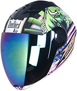 Steelbird Helmet Sba-2 Horn Matt Black/Green With Rainbow Visor And One Extra Transparent Visor For Night Vision Large 600 mm