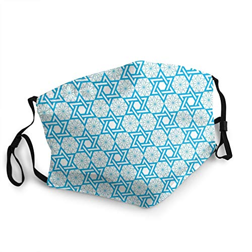 Hanukkah Jewish Star of David Blue Pattern Fashion Unisex Washable and Reusable Face Shield Protection from Pollen Dust Mask 1 Pcs