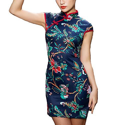 FANXQ Frauen-Lateinische Tanz-Kleider Blau Chinesischen Stil Cheongsam Kurze Hülsen-Split Leg Latin Tango Cha Cha Tanz-Kleid-Kostüme,S