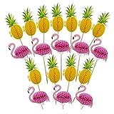 Amosfun 19 adornos para tartas hawaianas, flamencos, piña, panal de abeja,...