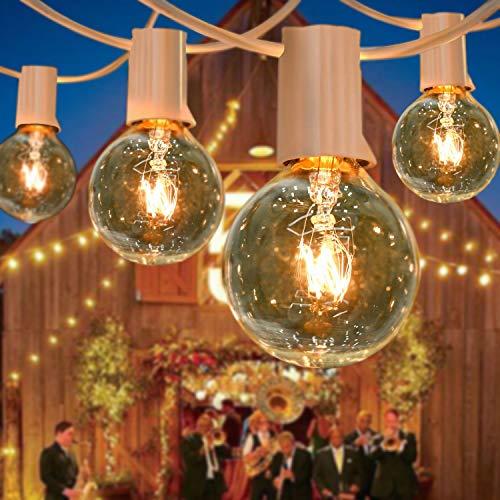 BRTLX Guirnaldas Luminosas de Exterior, G40 50ft/15M Impermeable Cadena de Luces con 25+2 Bombillas 7W 2200K Luces de Patio (2 Bomnillas de Reemplazo) Perefcto para Jardín Patio Fiesta Cafe